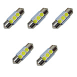 5PCS Double Pointed LED Lights 31MM 1W 3SMD 5050 Chip 80-100LM 6500-7000K DC12V Reading Light License Plate Lights