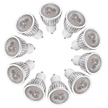 3W LED Spotlight GU10 3 High Power LED 260-300 lm Warm White/White Dimmable AC220-240V 10Pcs