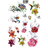 Temporary Tattoos Back Body Flower Series 3D Rose Waterproof Tattoos Stickers Non Toxic Glitter Large Fake Tattoo Halloween Gift 22*15cm