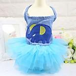Кошка Собака Платья смокинг Одежда для собак Для вечеринки ковбой На каждый день Свадьба Животные Синий