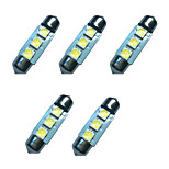 5PCS Car Festoon Dome Lamp 36MM 1W 3SMD 5050 Chip 80-100LM 6500-7000K DC12V Reading Light License Plate Lights