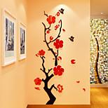 Цветочные мотивы/ботанический Романтика Наклейки 3D наклейки Наклейки с кристаллами Декоративные наклейки на стены 3D,Акрил материал