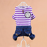 Dog Clothes/Jumpsuit Dog Clothes Casual/Daily Stripe Blushing Pink Purple
