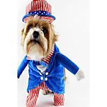 Собака Костюмы Одежда для собак Для вечеринки Косплей Полоски Зеленый Синий