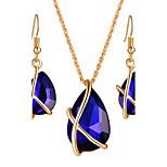 Dame Smykke Sæt Halskæde / Øreringe Brude Smykke sæt Krystal Hængende Mode Boheme Stil Euro-Amerikansk luksus smykker Brude Elegant