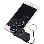 Объектив для мобильного телефона Объектив фиш-ай Широкоугольный объектив Макролинза LED подсветка