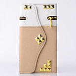 Taske til samsung note 5/4 cover kortholder tegnebog med stativ flip fuld kropscase solid farve geometrisk mønster blomst hårdt pu læder