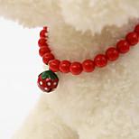 Жемчуг клубника колокольчик воротник bowknot является воротник diy жемчужное ожерелье галстук мультфильм колокол животных поставок