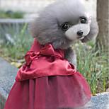 Кошка Собака Платья Одежда для собак Для вечеринки На каждый день Свадьба Новый год Стразы Темно-синий Красный