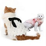 Кошка Собака Толстовка Одежда для собак Для вечеринки Сохраняет тепло Новый год Сплошной цвет Белый Розовый