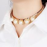 Жен. Ожерелья-бархатки Заявление ожерелья Искусственный жемчуг Стразы Имитация Алмазный Круглый Круглой формы Геометрической формы