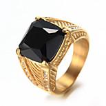 Муж. Классические кольца Стразы Мода Винтаж Pоскошные ювелирные изделия Elegant Bling Bling Стразы Титановая сталь Бижутерия Бижутерия
