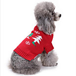 Кошка Собака Толстовка Одежда для собак Для вечеринки На каждый день Рождество Сплошной цвет Красный