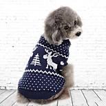 Кошка Собака Толстовка Одежда для собак Для вечеринки На каждый день Рождество Сплошной цвет Красный Синий