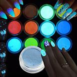 Ар деко / Ретро Женская униформа Сияющий в темноте 3-D Вспышка Компоненты для самостоятельного изготовления порошокСалон ногтей
