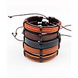 Муж. Кожаные браслеты Регулируется Multi-Wear способы Кожа В форме линии Бижутерия Назначение Повседневные На выход
