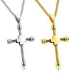 Муж. Ожерелья с подвесками Крестообразной формы Титановая сталь Хип-хоп Классика Металлик Мода По заказу покупателя Бижутерия Назначение