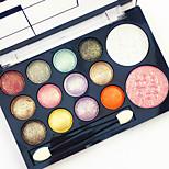 12 Glitter Shimmer Color Eyeshadow+2  Color Blush Румяна+Тени Зеркало Кисти для макияжа Сухие Матовое стекло Отблеск Муж. Лицо Муж. и