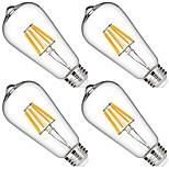 6W LED лампы накаливания 6 COB 580 lm Тёплый белый Диммируемая Декоративная AC 110-130 V 4 шт.
