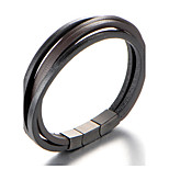 Муж. Браслет разомкнутое кольцо Кожаные браслеты Бижутерия Мода По заказу покупателя Кожа Титановая сталь Геометрической формы Бижутерия