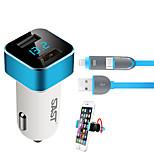 sast c17 автомобильное зарядное устройство держатель телефона напряжение дисплея 2 порта USB 3.1a dc 12v-24v с зарядным кабелем