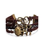 Муж. Жен. Wrap Браслеты Кожаные браслеты Бижутерия Панк Многослойный Кожа Сплав В форме черепа Бижутерия Назначение Повседневные Для