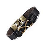 Муж. Кожаные браслеты Хип-хоп Rock Кожа Титановая сталь бесконечность Бижутерия Назначение Для вечеринок День рождения