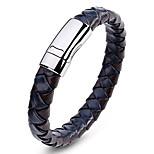 Муж. Браслет разомкнутое кольцо Кожаные браслеты Бижутерия Мода Винтаж Кожа Титановая сталь Геометрической формы Бижутерия Назначение