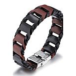Муж. Кожаные браслеты Хип-хоп Rock Кожа Титановая сталь Круглый Бижутерия Назначение Для вечеринок День рождения