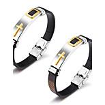Муж. Кожаные браслеты Хип-хоп Rock Кожа Титановая сталь Крестообразной формы Бижутерия Назначение Для вечеринок День рождения