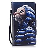 для чехлов держатель карты держатель кошелек с подставкой флип магнитный рисунок полный корпус чехол кошка твердая кожа pu для huawei