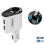 hyundai автомобильное зарядное устройство быстрое зарядное напряжение дисплея 1 розетка 3 порта USB 3.1a dc 12v-24v с зарядным кабелем