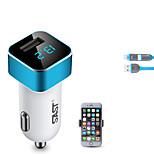 sast ay-t17 автомобильное зарядное устройство с кабельным телефоном. Дисплей на дисплее. Быстрая зарядка. 2 порта USB. 3.1a. DC 12v-24v.