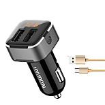 hyundai hy39 автомобильное зарядное устройство напряжение дисплея 2 порта USB 3.1a dc 12v-24v с кабелем типа-c