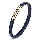 Муж. Жен. Браслет разомкнутое кольцо Кожаные браслеты Бижутерия Простой стиль Мода Нержавеющая сталь Кожа Круглой формы Бижутерия