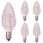 3w e14 кристалл светодиодная лампа накаливания для люстры smd2835 260 лм теплая / холодная белая 220v - 240v (5 шт)
