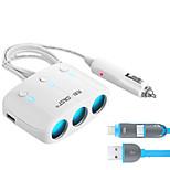 sast t11 автомобильное зарядное устройство быстрая зарядка 3 выхода 2 порта USB 3.1a dc 12v-24v