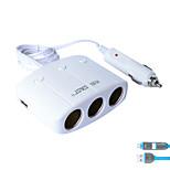 sast t11 автомобильное зарядное устройство быстрая зарядка 3 выхода 2 порта USB 3.1a dc 12v-24v с зарядным кабелем