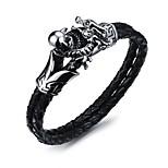 Муж. Мальчики Браслет цельное кольцо Браслет разомкнутое кольцо Бижутерия Винтаж По заказу покупателя Кожа Титановая сталь Геометрической