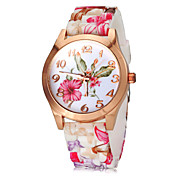 Women\s Watch Fashion Colorful Flower Pattern Silicone Band