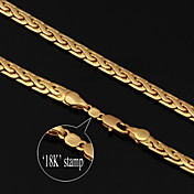U7? High Quality Vintage 18K Chunky Gold Filled Figaro Chain Necklace for Men 6MM 22Inches 55CM