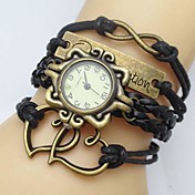 Women\s Watch Flower Dial Heart Infinity Leather Weave Band