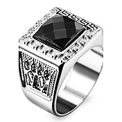 Famous Black Square Silver Stainless Steel Men\s Ring
