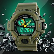 Men\s Military Design Multifunctional Dual Time Zones Rubber Band Sporty Wrist Watch
