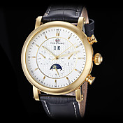 FORSINING Men\s Auto-Mechanical Six Pointers Gold Case Leather Band Wrist Watch (Assorted Colors)