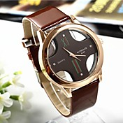 Popular Men\s Round Cross Golden Dial Leather Band Quartz Analog Wrist Watch(Assorted Color)