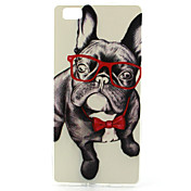 Glasses Dog Pattern TPU Soft Case for Huawei P8 Lite
