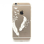 Feather Pattern TPU Relief Back Cover Case for iPhone 6/iPhone 6S