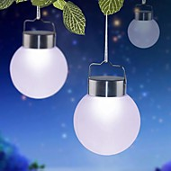 1-LED White Outdoor Solar Hanging Plastic Ball Lights For Decor