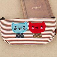 Cute Cartoon Cat Canvas Pencil Case Stationery Bags For Students(Random Color)